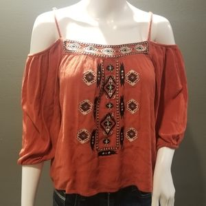 Bleuh Ciel Aztec Print Cold Shoulder Top